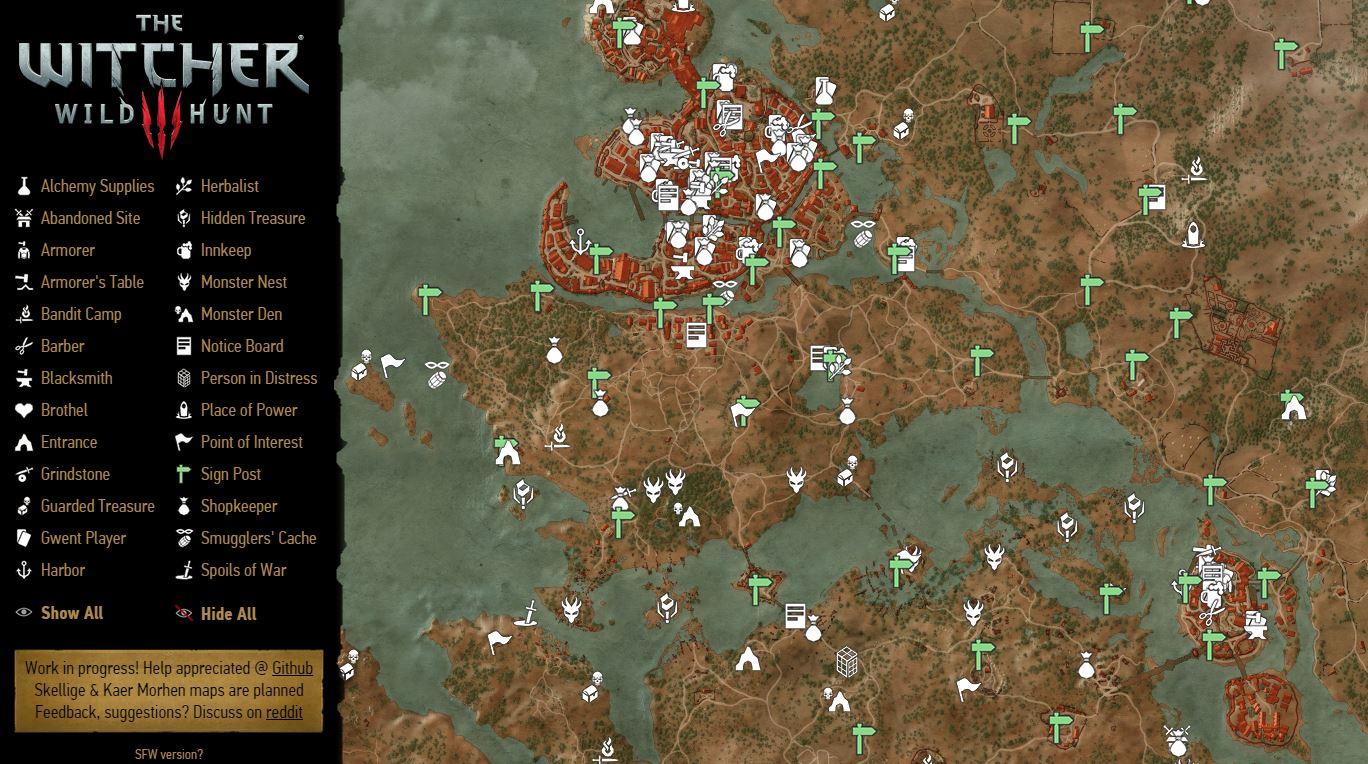 Карта мира Кровь и Вино Ведьмак 3-2