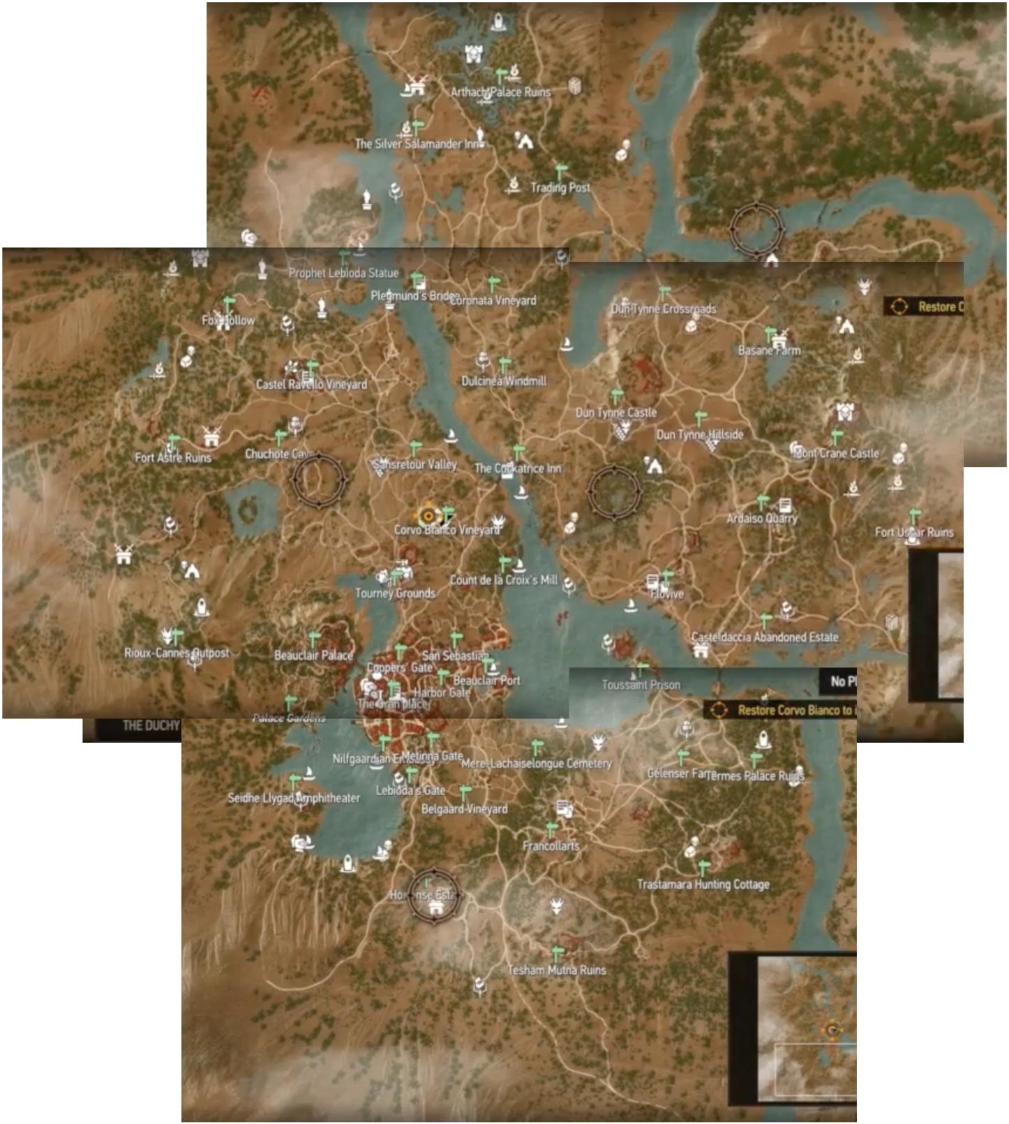 Карта Туссента Кровь и Вино Ведьмак 3-2