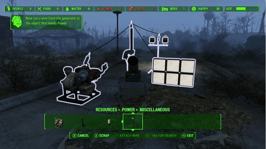 Как протянуть провод от генератора в Fallout 4
