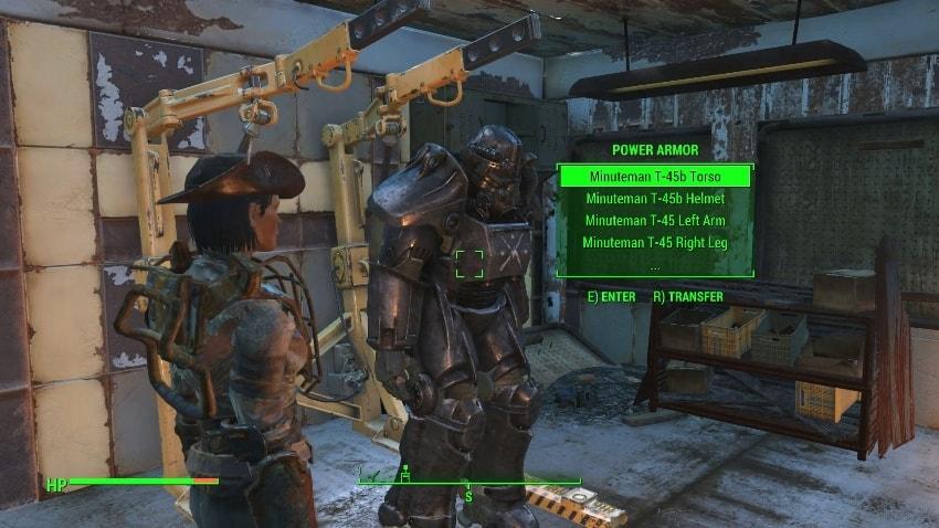 Как снять силовую броню в Fallout 4