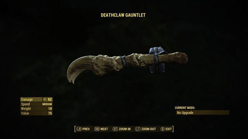 Перчатка когтя смерти в Fallout 4